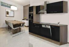 Küchenzeile Küche Einbau Küchenblock Leerblock 280cm Eiche York schwarz respekta