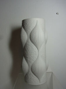 White Matt German Hutschenreuther Vase Mid Century #^