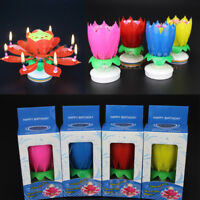 AU Lotus Flower Music Candles Candles Rotating Lights Birthday Cake Topper Gift