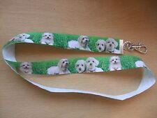 Handmade Maltese Dogs Lanyard Walking Ribbon Puppy Whistle Training Clicker ID