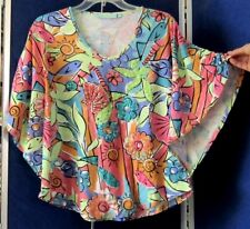 EUC Trendy KNIT TOP by ANTHONY'S RESORT WEAR w. Sequins & BUTTERFLY Sleeves Sz M