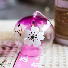 2 pcs JAPANESE Traditional Culture Glass Furin Wind Bell Chime pink sakura