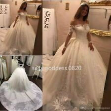 Off Shoulder Lace Appliques Princess Wedding Dress Long Sleeve Bridal Ball Gowns