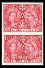 CANADA #53P; 3¢ VICTORIA JUBILEE PLATE PROOF ON CARD, SUP-NGAI-NH, PO FRESH PAIR