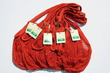 5 x String/net Shopping Bags made from recycled unbleached cotton,Long Handles