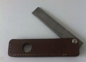 "GERBER SPORTSMAN KNIFE 5"" SHARPENER STEEL & CHISEL IN DARK BROWN LEATHER SHEATH"