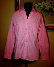 WMS PANHANDLE SLIM ROUGH STOCK PINK SNAP CLOSURE FLAP POCKET WESTERN SHIRT SZ M