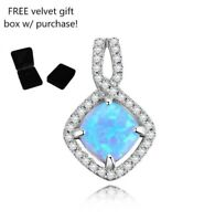 HIGH QUALITY 925 sterling silver blue fire opal diamond pendant necklace