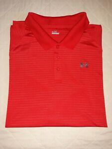 Under Armour Heat Gear Loose Fit Short Sleeve Golf Polo Shirt Red Men's 3XL