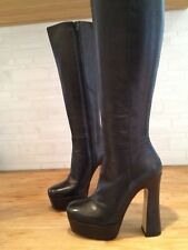 Knee-high Black Leather Boots Mimosa size 35 EUR 5 US