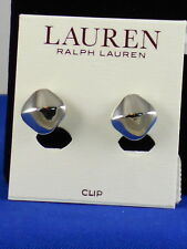 Ralph Lauren Polished Silvertone Faceted Button Clip Earrings LNC00087S040 $30