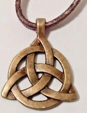 "Triple Celtic Knot Pendant - Adjustable 30"" Brown Leather Cord Necklace"