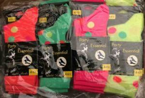 Ladies Teens Girls Polka Dot Ankle Socks Neon Coloured 4-6