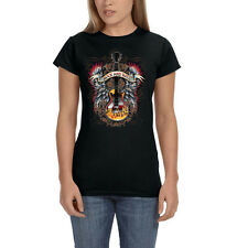 Rock And Roll Music Guitar Angel Wings Flames Womens T-Shirt Tee