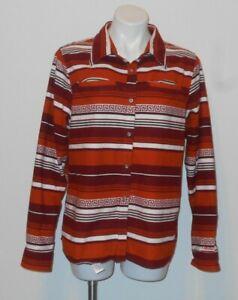 women's CALBELA'S Aztec Print Flannel Shirt Blouse Sz L  SOUTHWEST STRIPES