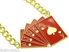 Hip Hop Poker Club Ace of Spades Royal Flush Gold with Red Bling Necklace
