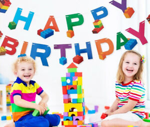 Building Blocks Boys&Girls Happy Birthday Banner Bunting Party Decors Garland