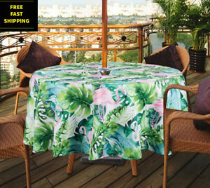 Flamingos Round Tablecloth Tropical Birds  Exotic Pink Cotton Sateen Circle Tablecloth by Spoonflower Vintage Flamingo by marta/_strausa