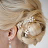 Wedding Party Bridal Clear Rhinestone Leaves Faux Pearl Hair Clip Pin Accessory