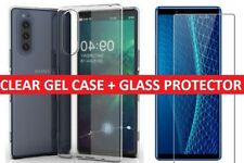 For Sony Xperia 5 (2019) Clear Gel Case Cover + Tempered Glass Screen Protector