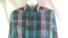Wrangler Snap Front Western Button Up Shirt MultiColor Plaid Long Sleeve 16.5-35