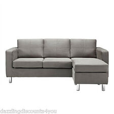 Modern Microfiber Grey Sectional Sofa Small Space Configurable Couch