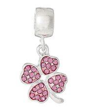 Four Leaf Clover Pink crystal Dangle Pendant Fits European Charm Bracelet C174