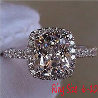 Fashion Jewelry 925 Silver Princess Cut White Sapphire Ring Wedding Gifts Bridal