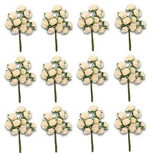 Craft Flowers -12mm Qty x 144 Mini Mulberry Paper Rose - Buff