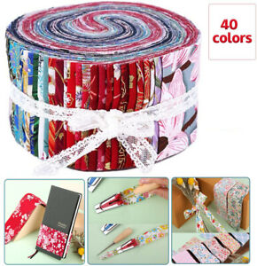40Pcs Jelly Roll Cotton Fabric Strips Pre Cut Quilting Patchwork Sew Assorted