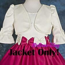 Ivory Pearl Satin Wedding Flower Girl Pageant Party Jacket Bolero Sz 2T-3T CT001