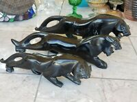 Set of Three Heavy Black Marble Onyx Natural Stone Jaguar Panther 5200 Grs BIG!!