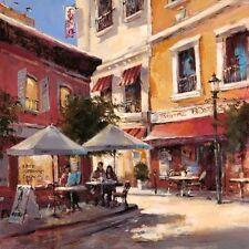 Brent Heighton: Cafe Break Keilrahmen-Bild 50x50 Leinwand Strassencafe