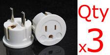 3-pack European Schuko Plug Adapter USA to Europe / Asia US TO EU Round Prong