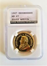1oz Krugerrand 24ct Gold Plated 1967 South Africa Coin In A Slab