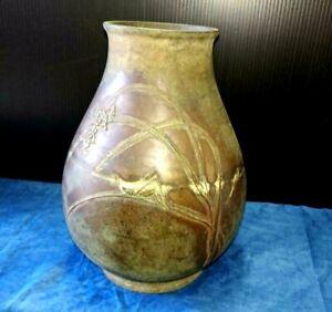 Japanese Bronze Vase Rice Leaf Locust Sculpture Old Antique Meiji Era From Japan