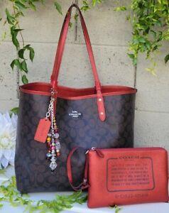 COACH 25849 REVERSIBLE City Tote shoulder bag purse+ Pouch metallic red set