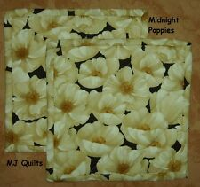 "Set of 2 (8"") Wilmington Midnight Poppies-Quilted-Handmade-Insulated-Hot Pads"
