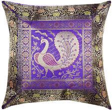 "Blue 17"" Handmade Silk Brocade Cushion Pillow Cover Throw Indian Decorative"