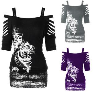 Women Gothic Skull Print Long Sleeve Off Shoulder Top Ladies Blouse T-Shirt N720