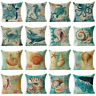 Cover Throw Pillow Home Linen Sofa Cotton Sea Animal Case Cushion Decor Retro