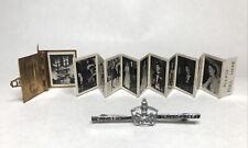 More details for antique queen elizabeth coronation 1953 souvenir miniature photo album & broach