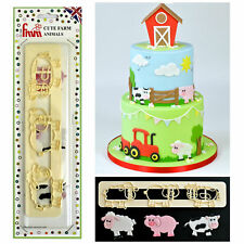 FMM Icing Cutter Cute Farm Animals Cow Pig Cake Fondant Stencil Cut Out Tool
