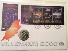Isle of Man Triple-posté TIMBRES & 1 Crown Mann millénaire coin FDC. (0101)