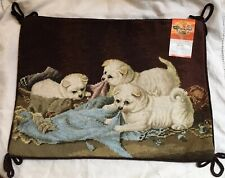 """Pug Puppies Playing 12"""" X 16"""" Wool Petite Needlepoint Pillow Cover New !"""