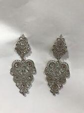 Silver Diamanté Luxury Drop Down Dangle Earrings Unique Handmade With Gems