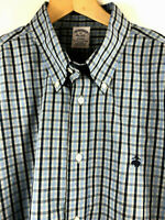 BROOKS BROTHERS Regent Mens Blue Plaid Cotton Long Sleeve Shirt Large NWT $92