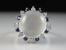 18K Cat's Eye Moonstone Blue White Sapphire Ring White Gold Fine Jewelry Size 6.