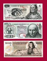 Mexican UNC Notes: 5 Pesos 1972 (P-62), 10 Pesos 1977 (P-63) & 1000 Pesos (P-85)