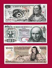 Mexican UNC Notes: 5 Pesos 1972 (P-62), 10 Pesos 1977 (P-63) & 1000 Pesos (P-85)